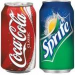 coke sprite cans